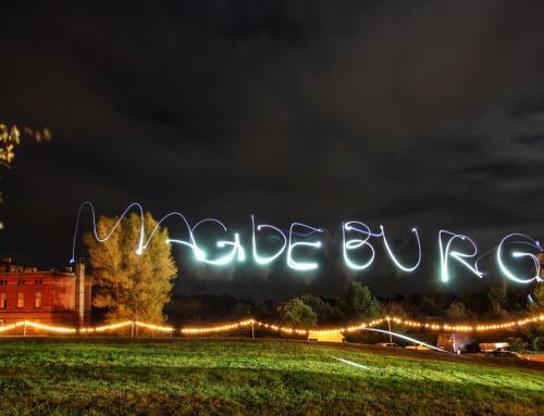 Lichtspiel Schriftzug Magdeburg