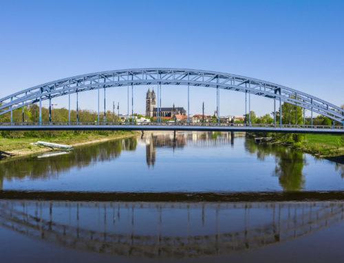 Sternbrücke Magdeburg – Luftaufnahmen im Frühling