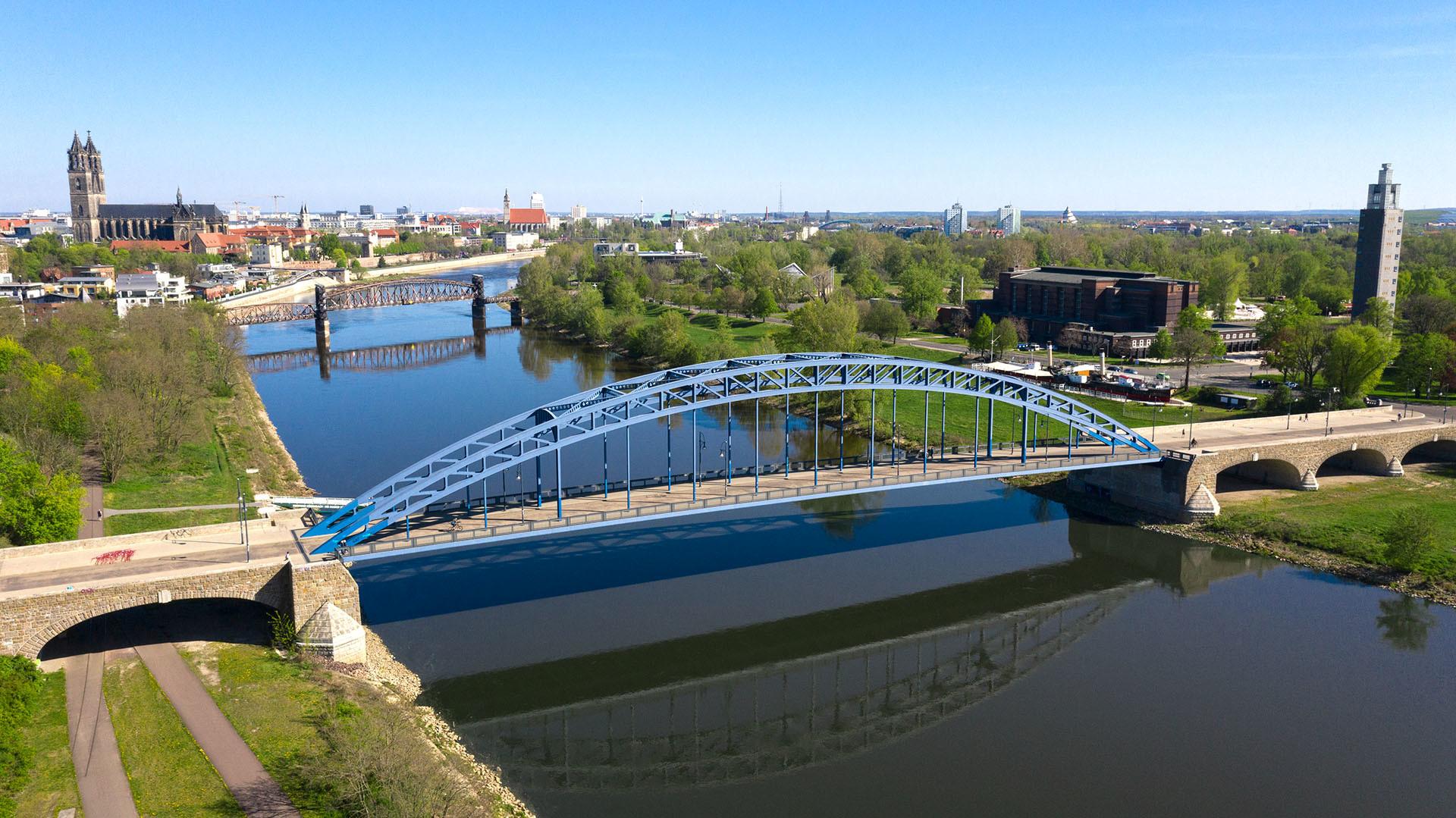 Sternbrücke Stadtpanorama Luftaufnahme
